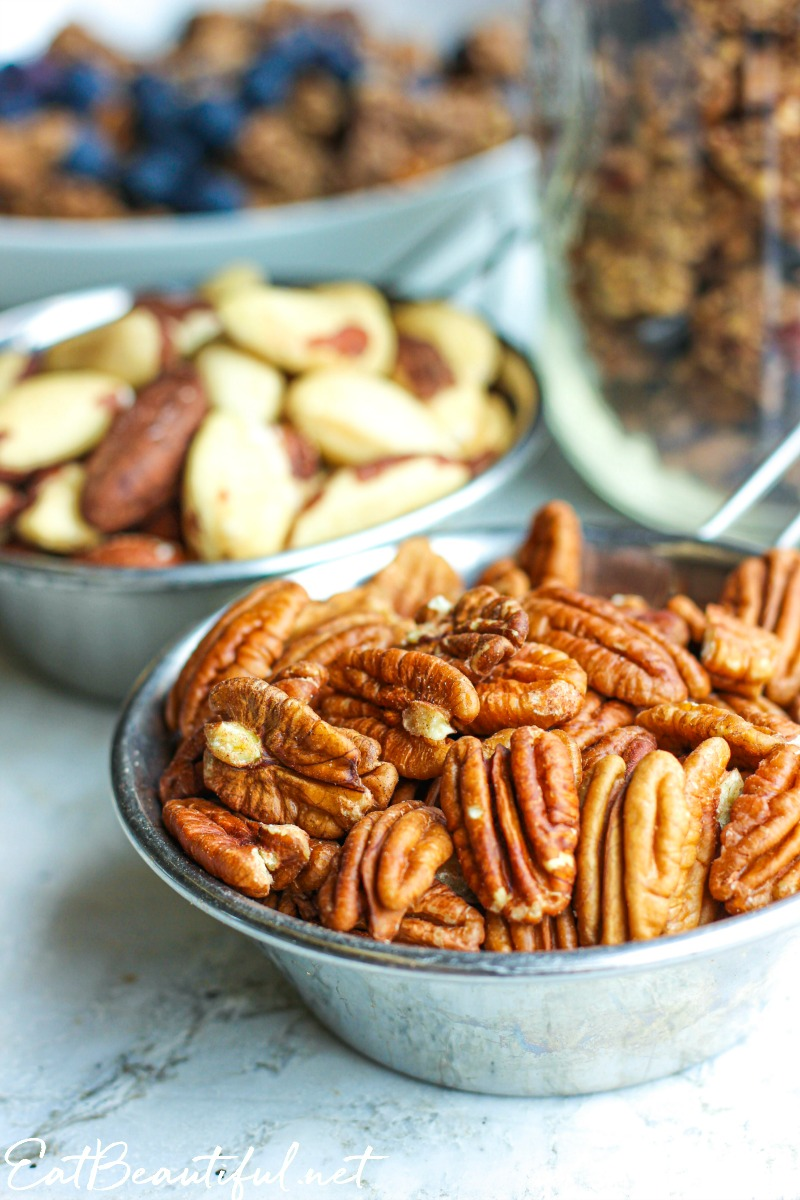 pecans and brazil nuts for keto paleo granola in bowls