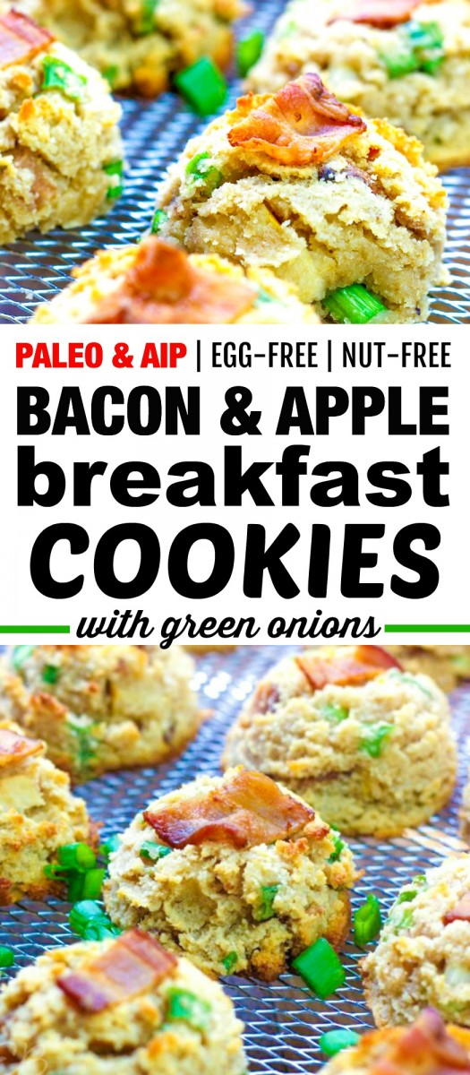 two images of bacon and apple aip cookies with banner in the middle