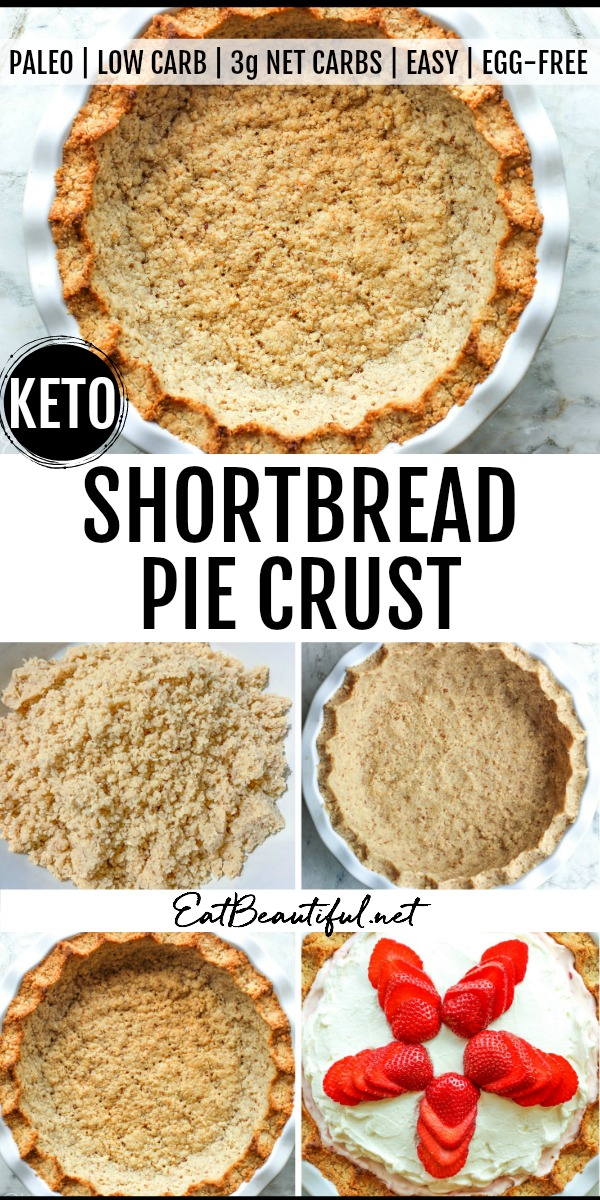 5 images of keto shortbread pie crust with banner