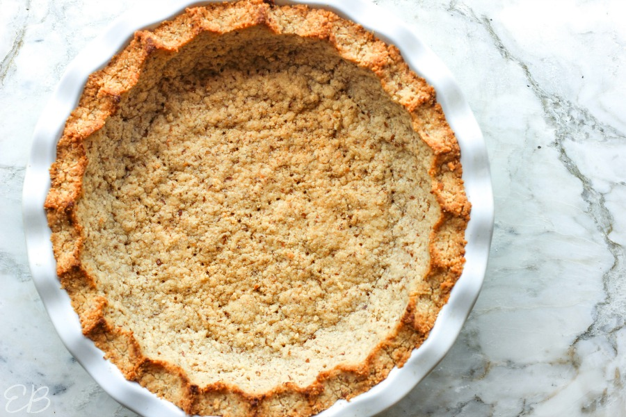 overhead view of baked pie crust