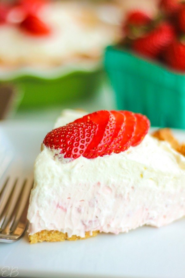 side view of slice of keto strawberry cream pie