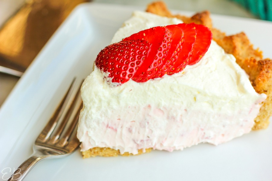single slice of strawberry cream pie
