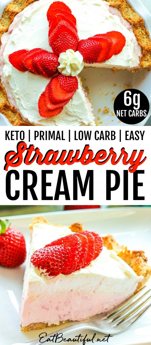 two strawberry cream pie images with banner in the middle