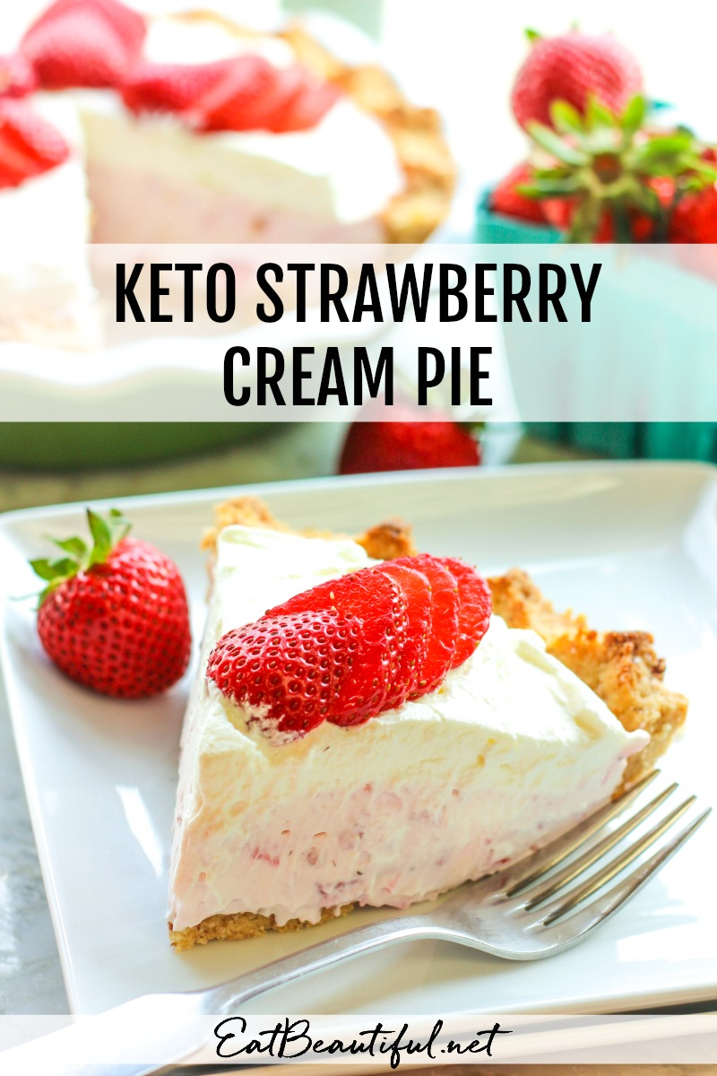 slice of keto strawberry cream pie with banner
