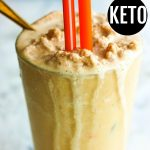 close up image of low carb peanut butter milkshake