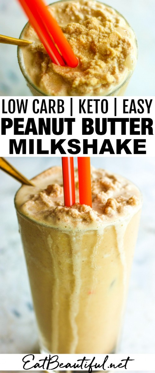 two images of low carb peanut butter shake with banner