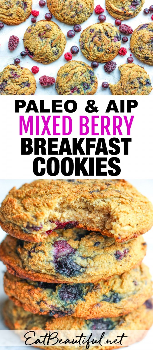 two images of mixed berry cookies and banner in the middle