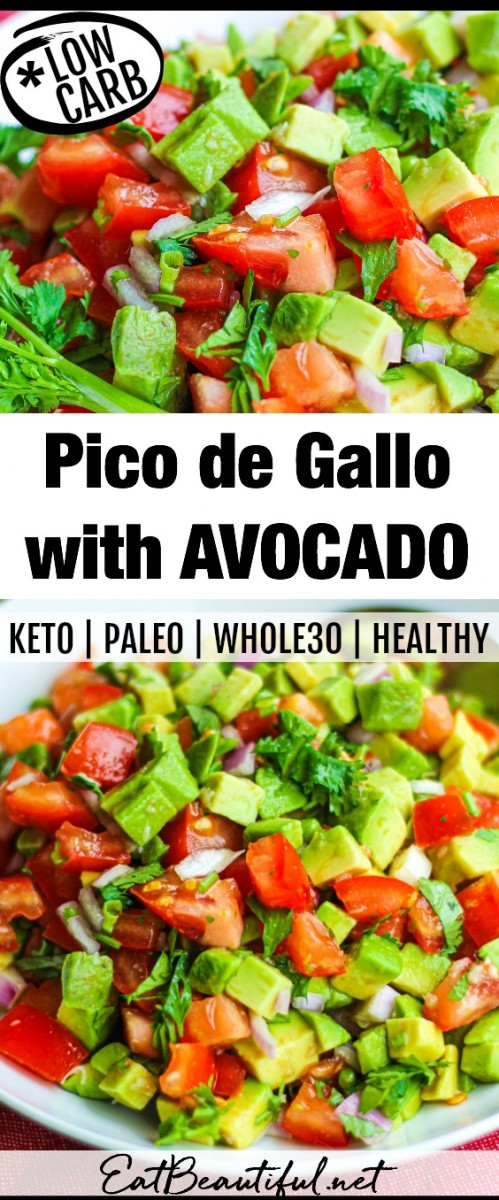 two images of pico de gallo with avocado and banner in the middle