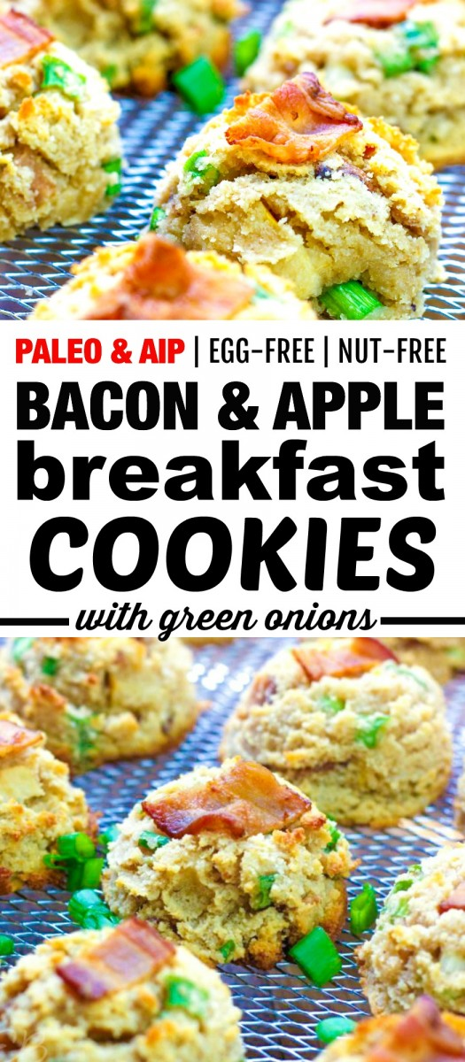 pin with two images and banner in the middle of bacon and apple cookies