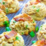 close up view of bacon and apple breakfast cookies