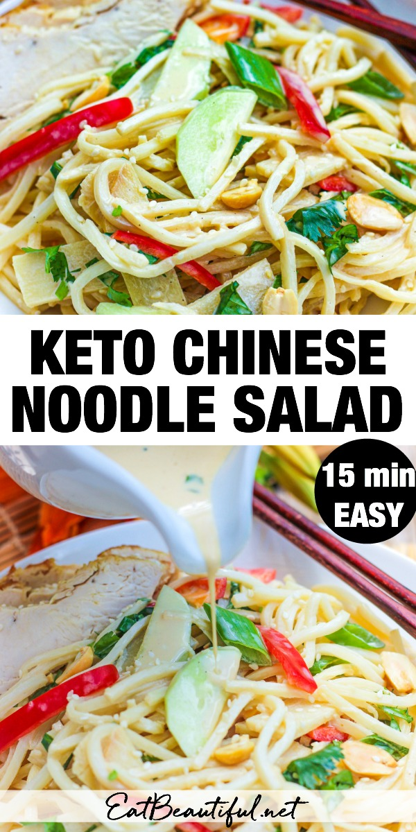 two images of keto noodle salad with banner in the middle