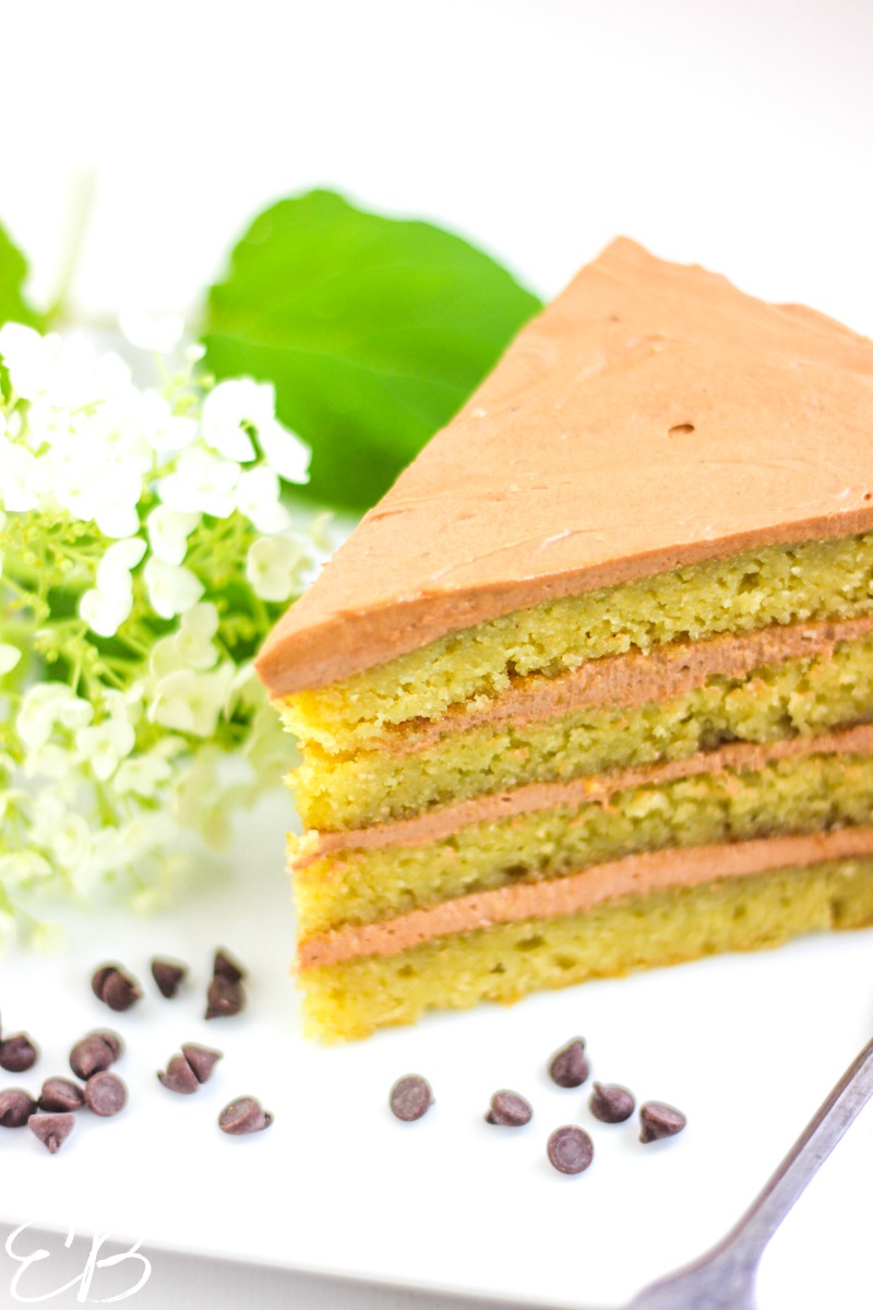 image of 4 layer cake with chocolate cream cheese frosting