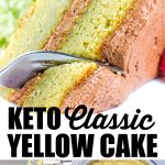 3 images of keto yellow cake with banner
