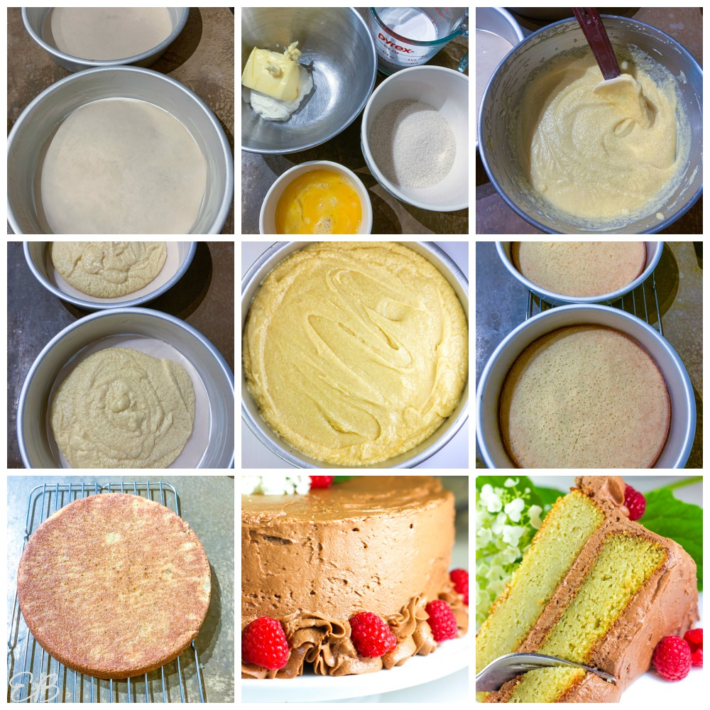 9 process photos of how to make keto yellow cake