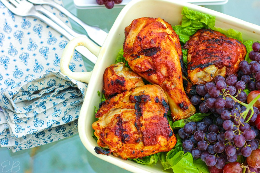 landscape photo of chicken with romaine lettuce and grapes