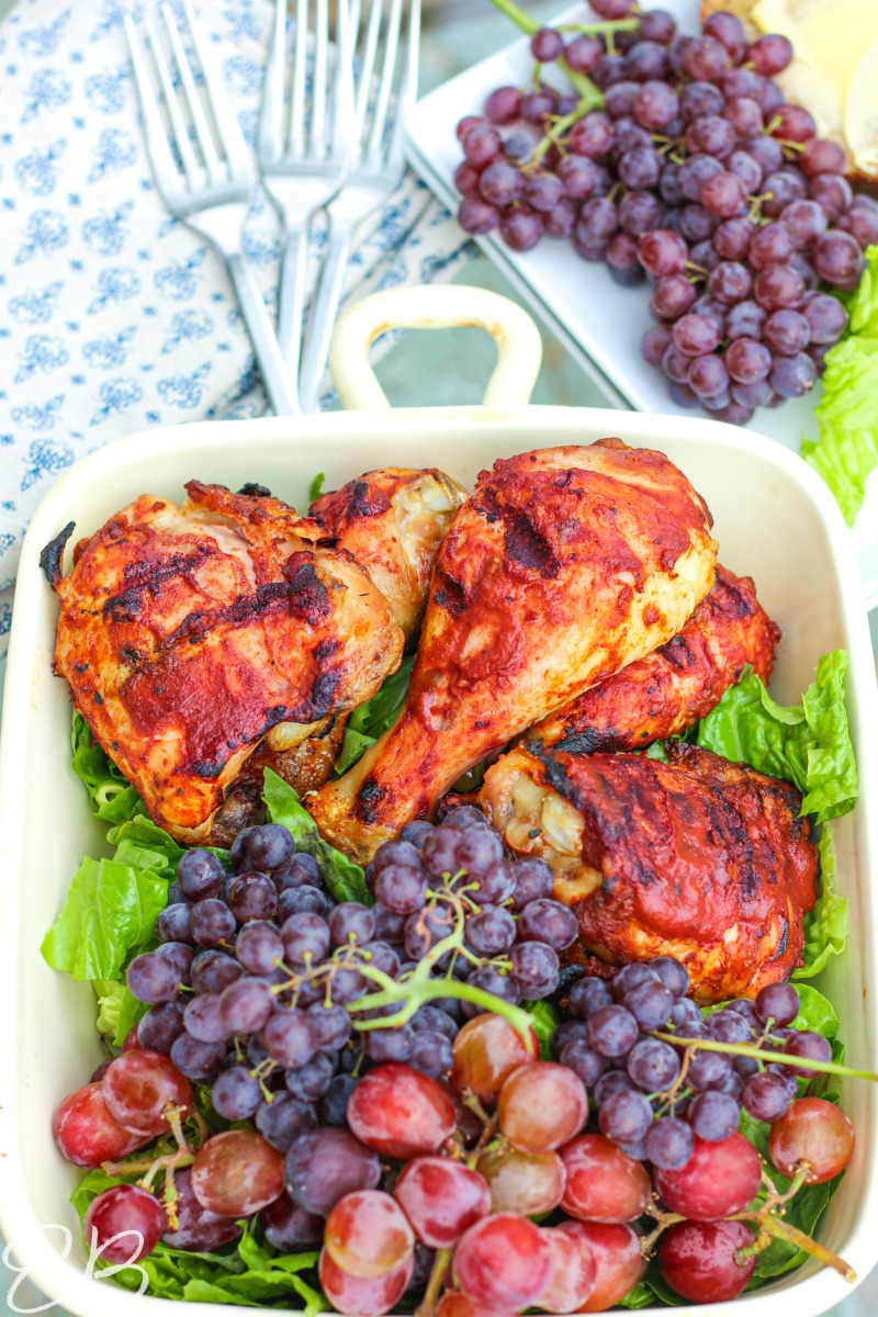 long overview image of AIP BBQ Chicken with salad and fruit