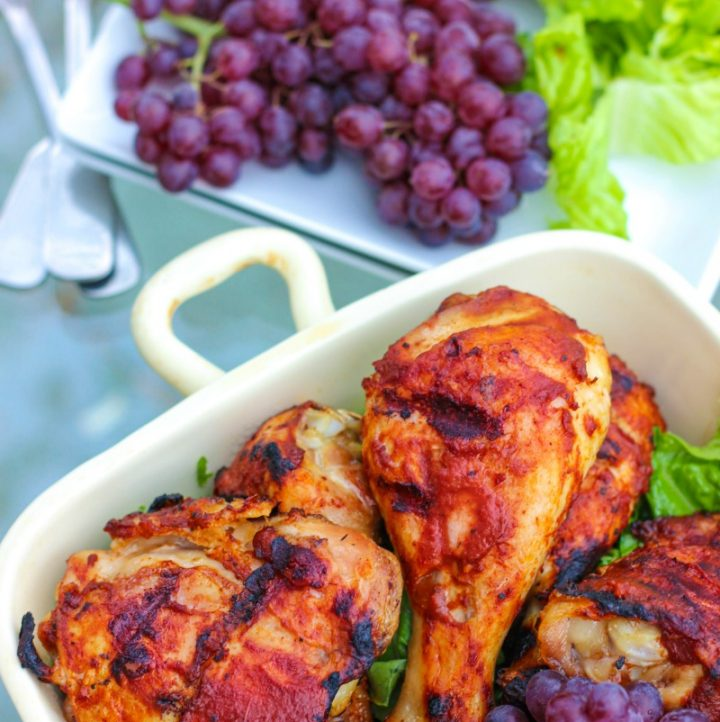 side angle view of AIP BBQ Chicken in serving dish