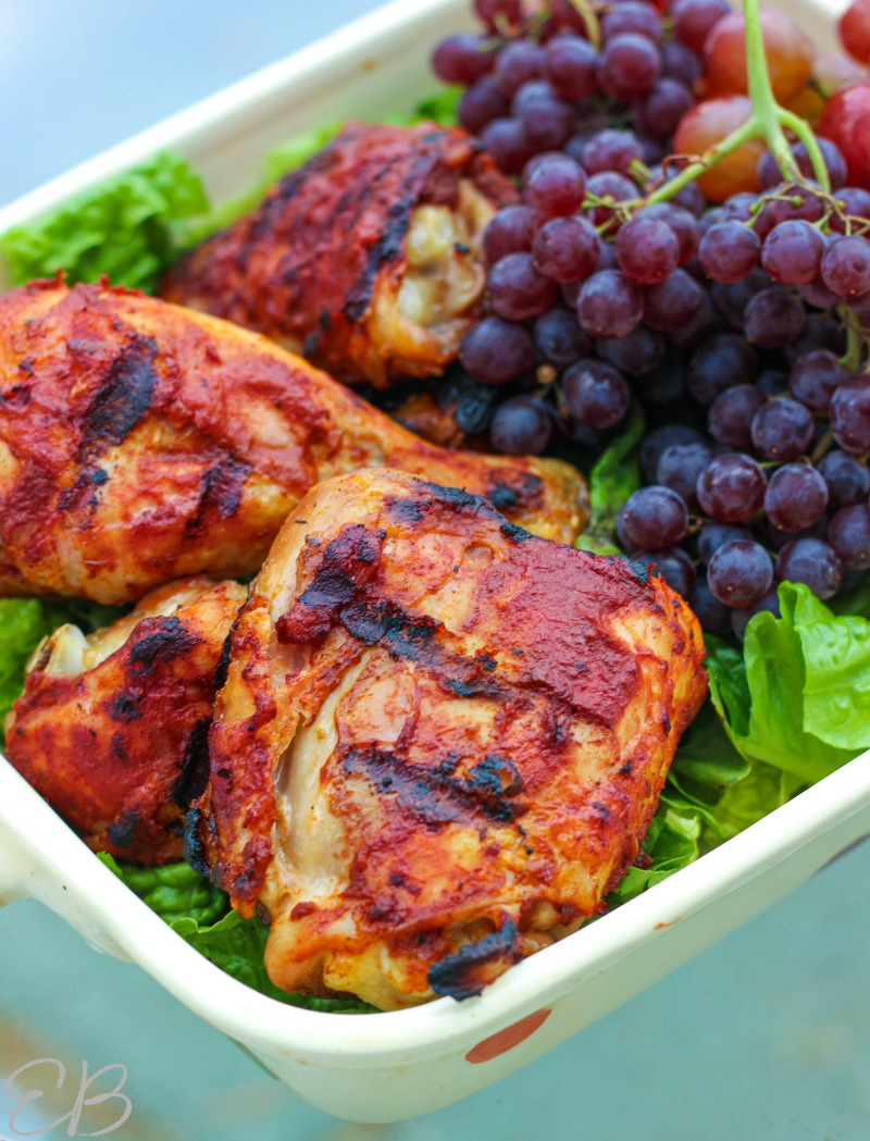 close-up view of chicken and grapes