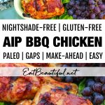 2 images of aip bbq chicken with banner in the middle