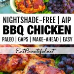 two images of AIP BBQ Chicken with banner and words in the middle