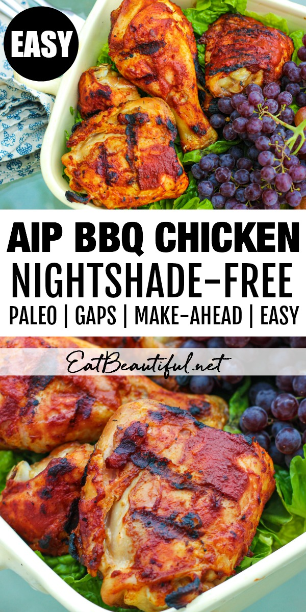 2 images of AIP BBQ Chicken with banner and words in the middle