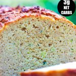 pin image with banner of keto zucchini bread