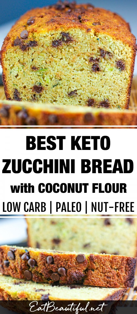 two images of zucchini bread with banner in the middle