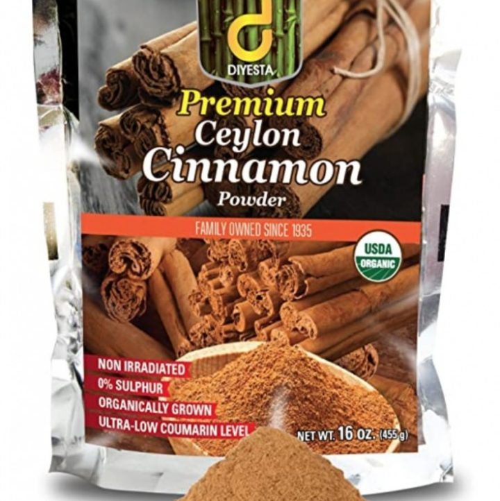 image of ceylon cinnamon bag and a pile of the spice