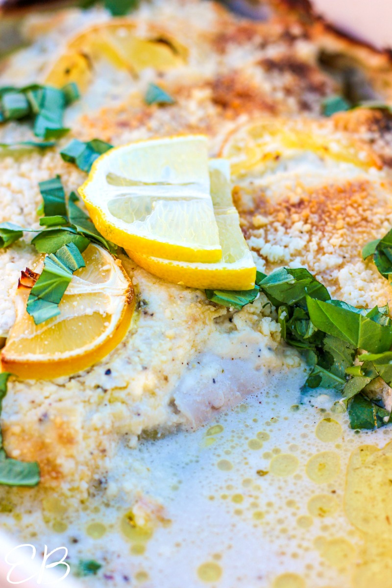 close-up view of the lemons and parmesan chicken in casserole dish