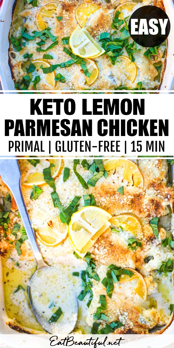 two images of keto lemon parmesan chicken with a banner in the middle