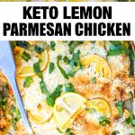two photos of keto parmesan chicken with banner in the middle