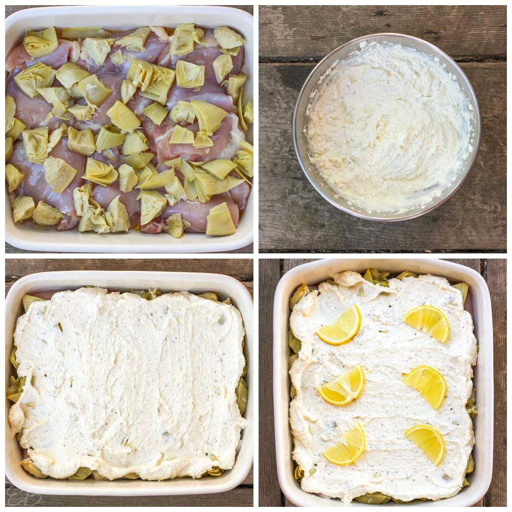 4 process photos of assembling keto lemon parmesan chicken