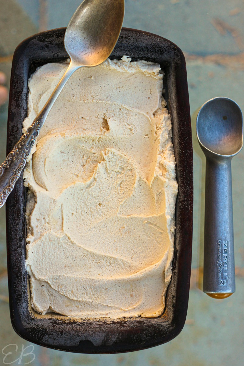 Paleo Cinnamon Ice Cream in loaf pan ready to be scooped