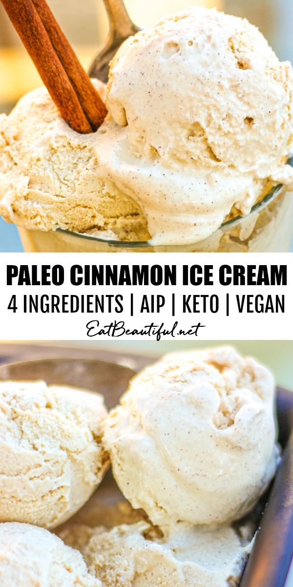 two images of paleo cinnamon ice cream with banner in the middle