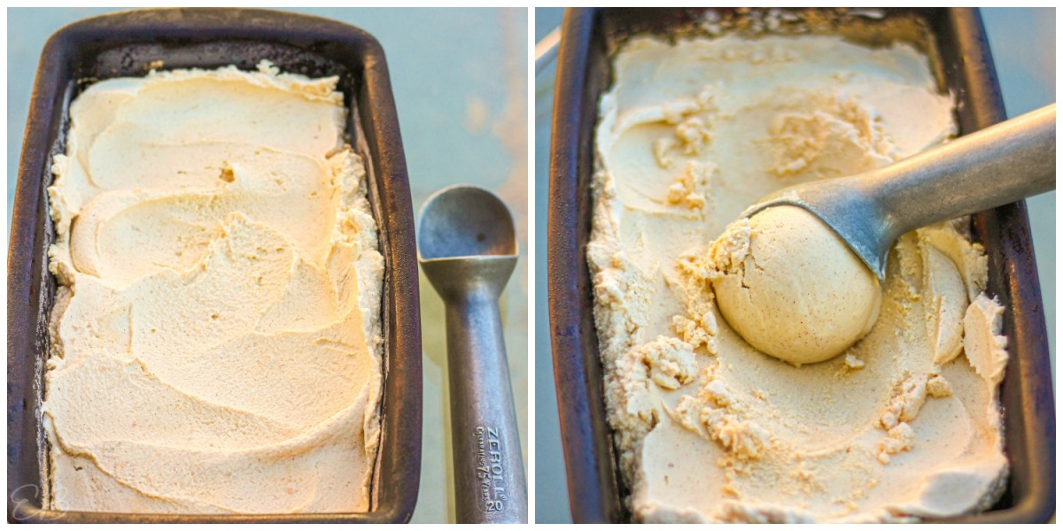 two process photos of scooping paleo cinnamon ice cream