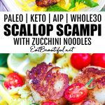 two images of paleo scallop scampi with zoodles