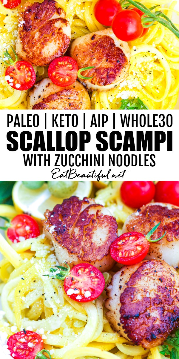 pin with two images of scallop scampi and zucchini noodles with banner and words