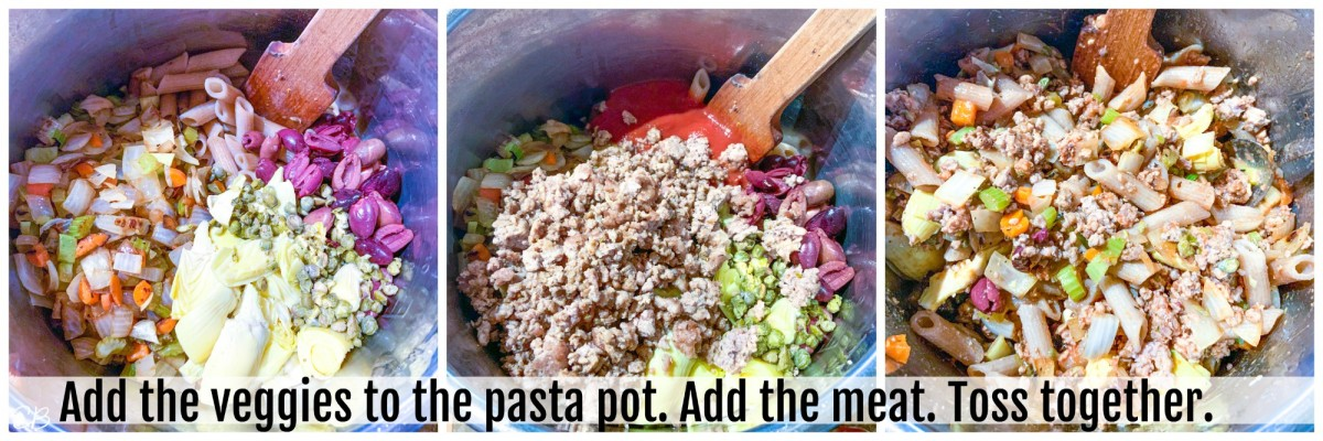 3 process photos of assembling the aip pasta dish
