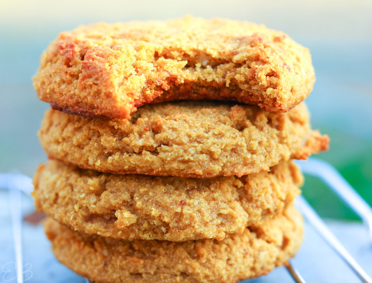 aip pumpkin cookies stacked with a bite out of the top one