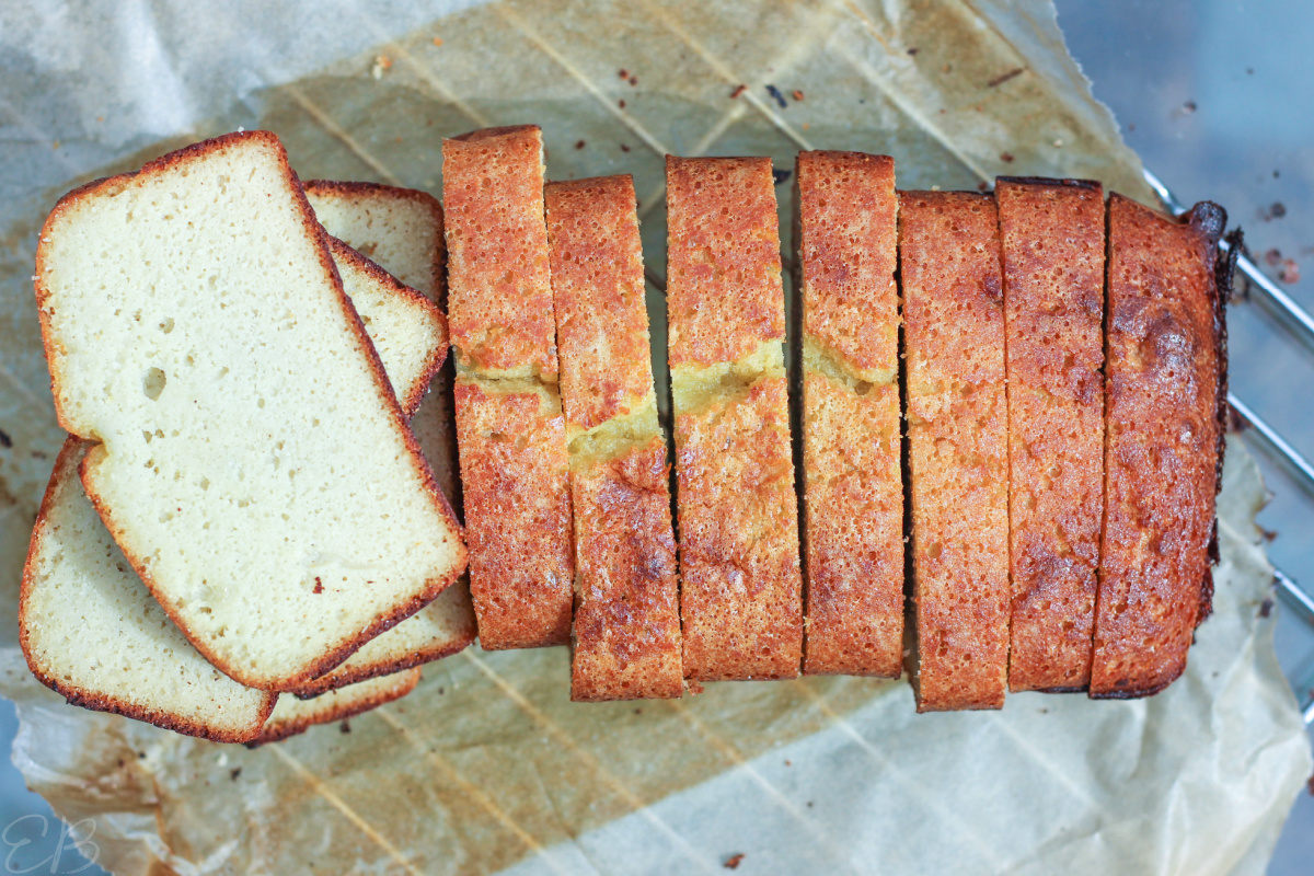 overhead view of coconut flour bread all sliced