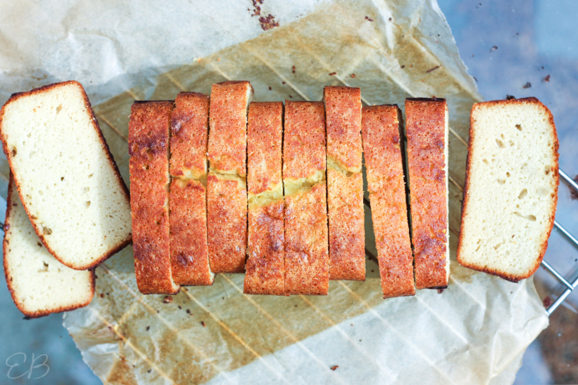 overhead view of sliced coconut bread recipe