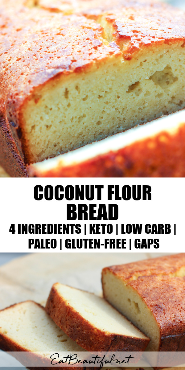 two images of coconut flour bread sliced with banner in the middle