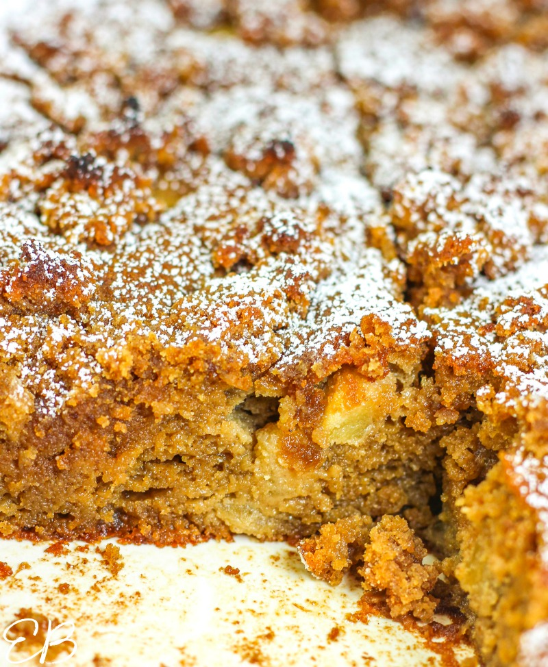 a view inside the cut apple cake