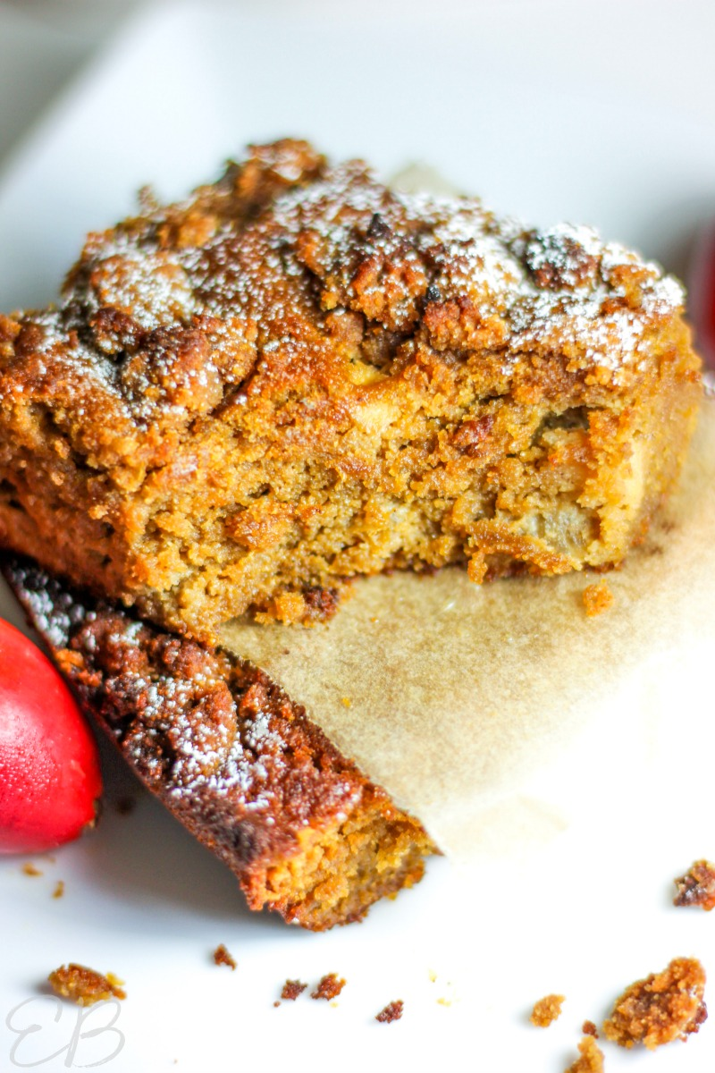 one bite out of keto apple cake with coconut flour