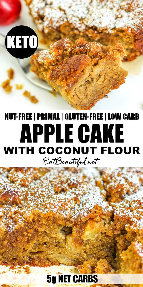 pin with two images of keto apple cake with coconut flour and banner in the middle