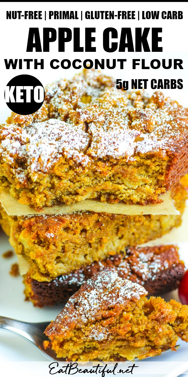 three slices of keto apple cake with coconut flour stacked on top of each other