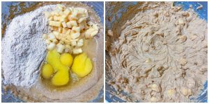2 process photos of keto apple cake batter
