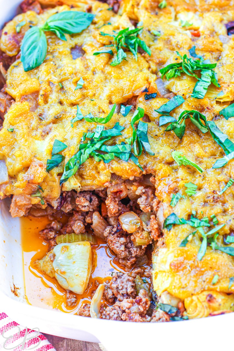 close-up of one serving removed from paleo aip penne casserole