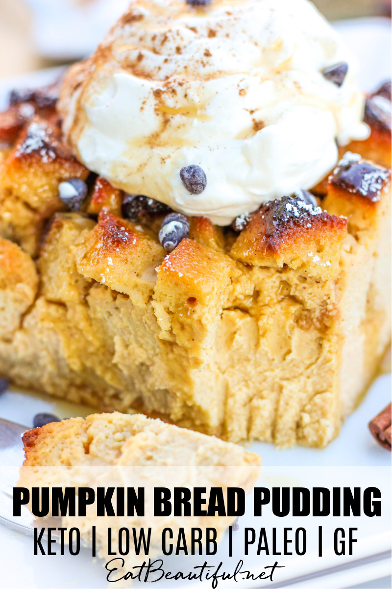 pin image close-up of pumpkin bread pudding with one bite taken out