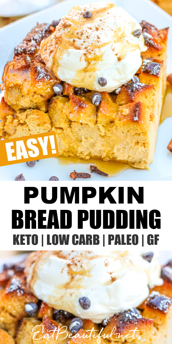 two images and banner for pumpkin bread pudding